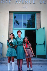 My mom, my sister and me in front of Melrose Elementary School