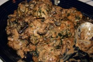 Florentine Meatballs with Wild Mushroom Sauce