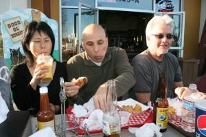 Friends enjoying post wine tasting repast at Good Ol'Burger