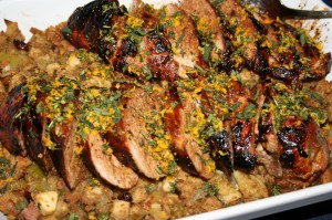 Honey-Marinated Pork w/Gremolata on a bed of Cornbread Dressing
