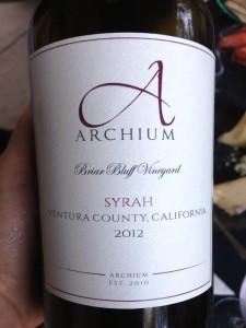 Archium Cellars Briar Cliff Syrah