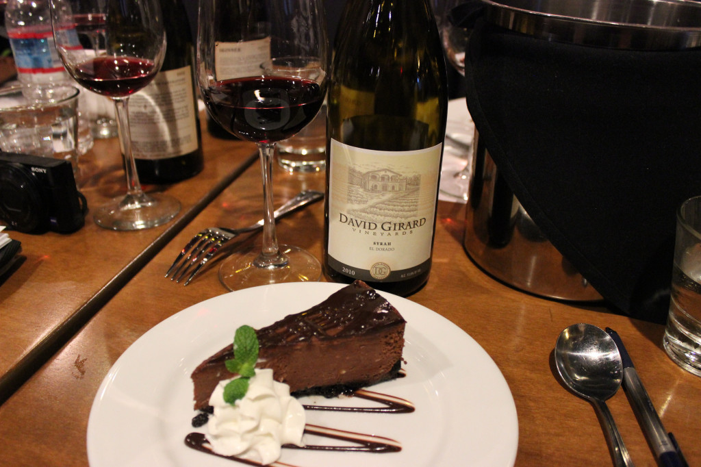Chocolate Cheesecake with David Girard Syrah at The Independence Restaurant and Bar Placerville Ca