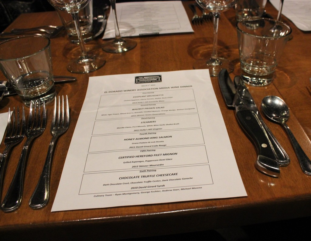 Winemaker dinner menu at The Independent Restaurant and Bar - Placerville, CA